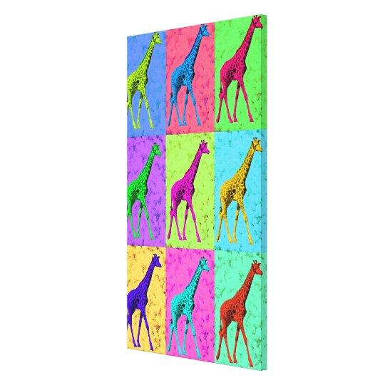 Pop Art Popart Walking Giraffe Multi-Colour Canvas Print
