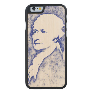 Pop Art Portrait Alexander Hamilton in Blue Carved® Maple iPhone 6 Case