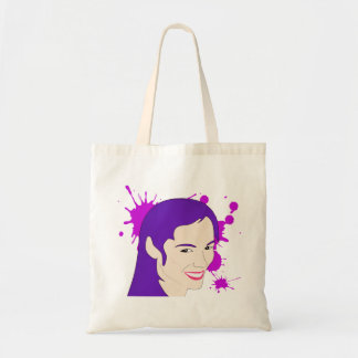 Pop Art Portrait of a Purple Haired Girl Budget Tote Bag