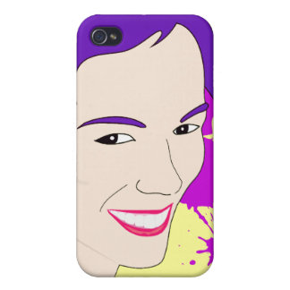 Pop Art Portrait of a Purple Haired Girl iPhone 4 Cover