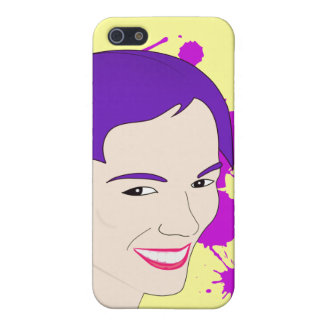 Pop Art Portrait of a Purple Haired Girl iPhone 5/5S Case