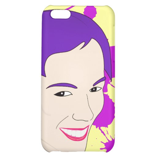 Pop Art Portrait of a Purple Haired Girl iPhone 5C Cover