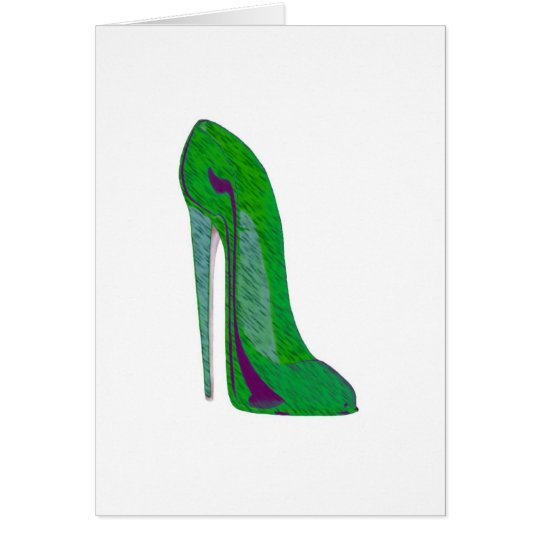 Pop-art purple and green stiletto shoes card