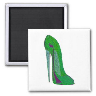 Pop-art purple and green stiletto shoes refrigerator magnet