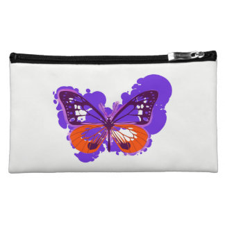 Pop Art Purple Butterfly Cosmetics Bag