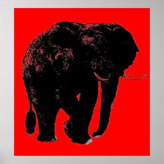 Pop Art Red Black Elephant Silhouette Poster