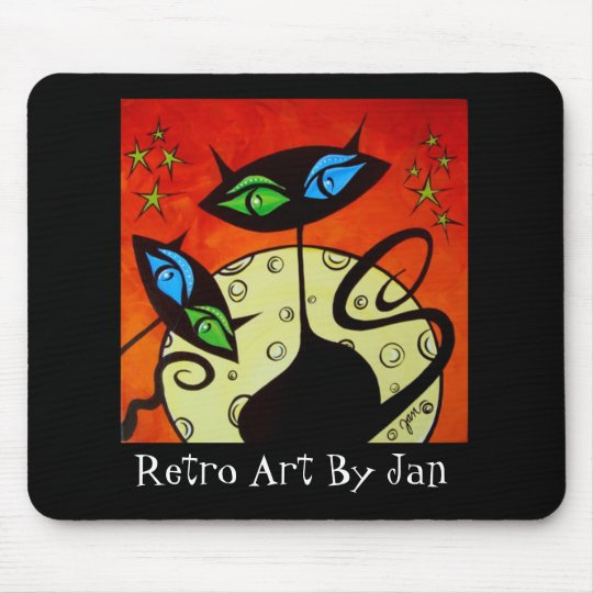 Pop Art Retro Black Cats mouse pad