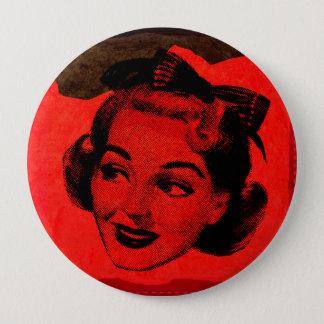 Pop Art Retro Red Head Woman Round Button