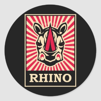Pop Art Rhinoceros Classic Round Sticker