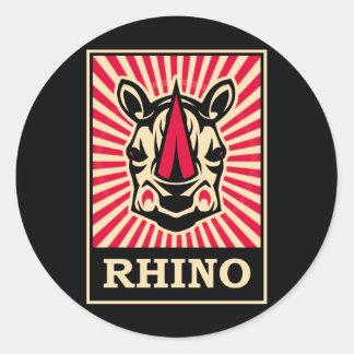 Pop Art Rhinoceros Round Sticker