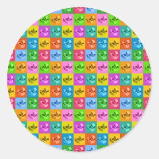 pop art rubber ducks round sticker