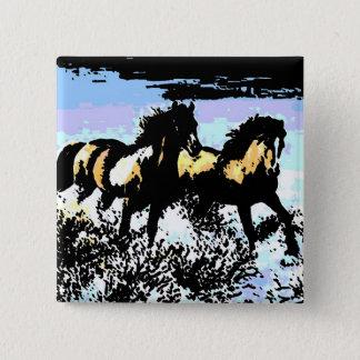 Pop Art Running Horses 15 Cm Square Badge