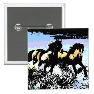 Pop Art Running Horses 15 Cm Square Badge