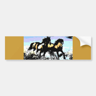 Pop Art Running Horses Bumper Sticker