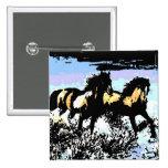 Pop Art Running Horses Buttons