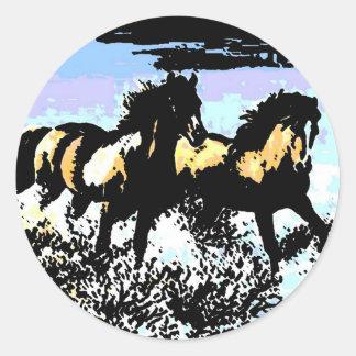 Pop Art Running Horses Classic Round Sticker