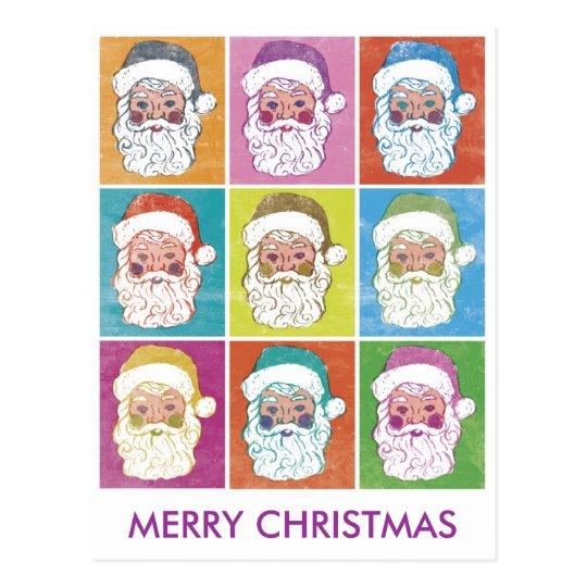 POP ART Santas MERRY CHRISTMAS Postcard