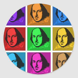 Pop Art Shakespeare Classic Round Sticker