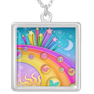 Pop Art Sixties Sky Silver Plated Necklace