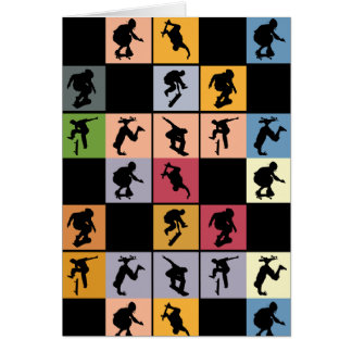 Pop Art Skateboarders Collage Greeting Card