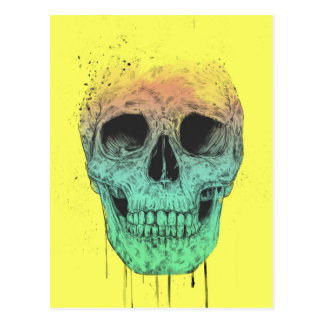 Pop art skull postcard