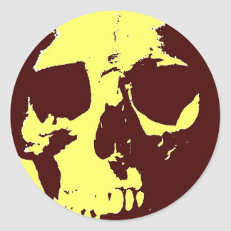 Pop Art Skull Round Sticker