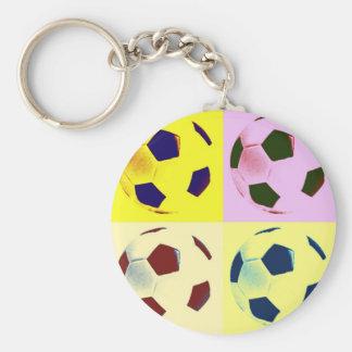 Pop Art Soccer Balls Basic Round Button Key Ring