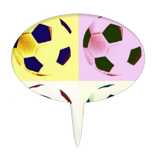 Pop Art Soccer Balls Cake Picks