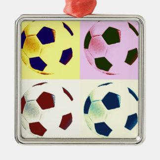Pop Art Soccer Balls Square Metal Christmas Ornament
