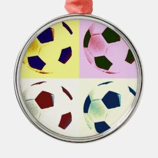 Pop Art Soccer Balls Round Metal Christmas Ornament