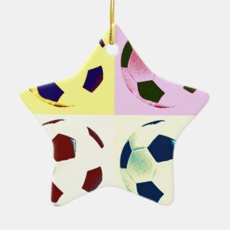 Pop Art Soccer Balls Double-Sided Star Ceramic Christmas Ornament