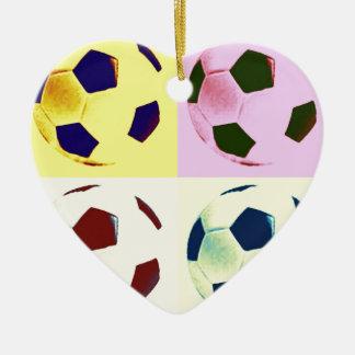 Pop Art Soccer Balls Ceramic Heart Decoration