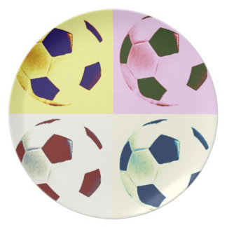 Pop Art Soccer Balls Dinner Plates