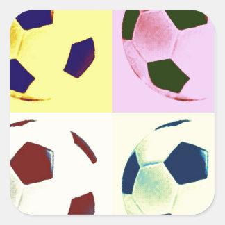 Pop Art Soccer Balls Square Sticker