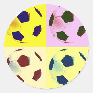 Pop Art Soccer Balls Round Sticker