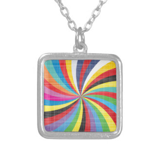 Pop Art Spiral Silver Plated Necklace