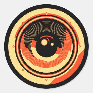 Pop Art Style Audio Speaker Round Sticker
