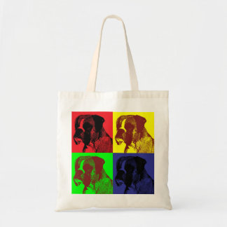 Pop Art Style Boxer Dog Print Tote Bag