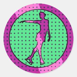 Pop Art Style Female Ice Skater Round Sticker