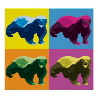 Pop Art Style Honey Badger Poster