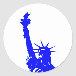 Pop Art Style Statue of Liberty Round Sticker