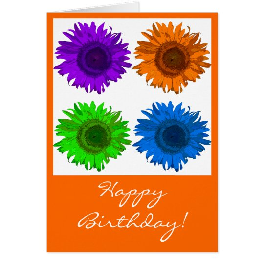 Pop Art Sunflowers Block Happy Birthday Card