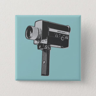 Pop Art Super 8 Movie Camera 15 Cm Square Badge