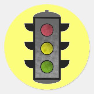 Pop Art Traffic Light Classic Round Sticker