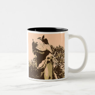 pop art Tyrannosaurus Rex Two-Tone Coffee Mug