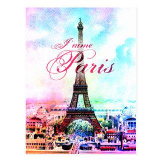 Pop Art Vintage Eiffel Tower Postcards