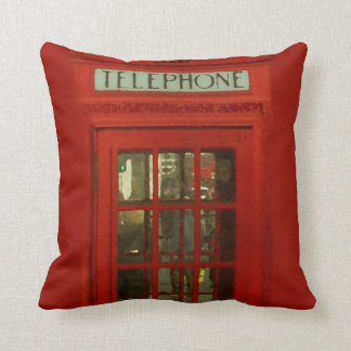 Pop Art Vintage London City Red Telephone Box Cushion
