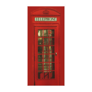 Pop Art Vintage London City Red Telephone Box Gallery Wrapped Canvas