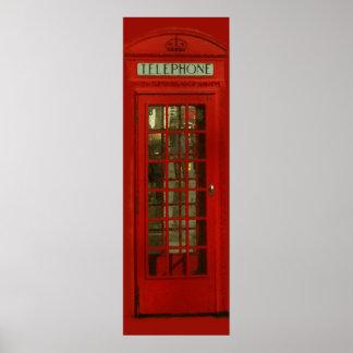 Pop Art Vintage London City Red Telephone Box Poster