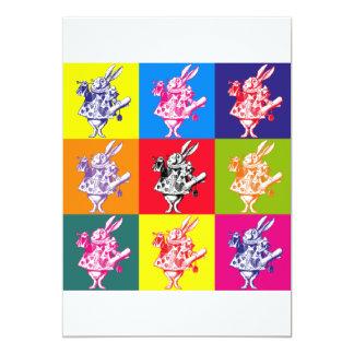 Pop Art White Rabbit 13 Cm X 18 Cm Invitation Card